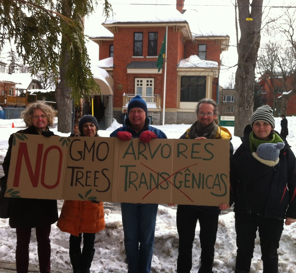 A hardy crew of activists from Canadian Biotechnology Action Network take action at the Brazilian Embassy in Ottawa.